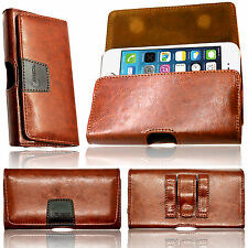 Leather Case Holster Magnet Flip Cover Genuine GT Belt Pouch For Mobile Phones