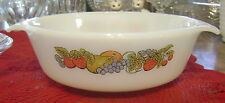 Vintage Fire King Anchor Hocking 1 Quart Casserole Color Fruit Natures Bounty MG