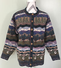 Vtg ICELANDIC DESIGN Womens Wool Nordic Sheep Pasture Button Front Sweater Sz M