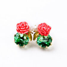 ANTHROPOLOGIE DELICATE WHITE PEARL PINK FLOWER GREEN STONE STUD EARRINGS NEW LES