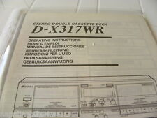 Sansui D-X317WR Owner's Manual  Operating Instructions Istruzioni New