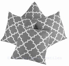 Set of 4 Grey Linen Geometric Design 18 inch Cushion Covers Tess