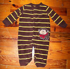 Boys CARTER'S Brown & Yellow Fleece Stripe Monkey One-Piece Outfit 12 Months