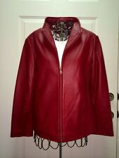 $649 Ladies Tibor Red Lambskin Leather Fitted Jacket Size Small