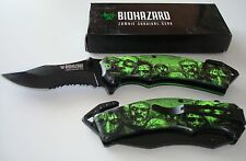 """BIOHAZARD ZOMBIE SURVIVAL GEAR NEW ASSISTED OPENING 8"""" RESCUE KNIFE GREEN"""