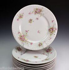 Haviland Schleiger 313-1 Pink White Poppy Limoges France 8 Dinner Plate Plates
