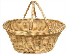 Traditional Wicker Shopping Basket with Folding Handles - LARGE NATURAL