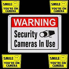 METAL OUTDOOR SECURITY CAMERAS WARNING YARD SIGN+WINDOW STICKERS LOT