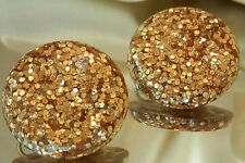 Sparkly Vintage 50's Gold Foil Glitter Lucite Clip Earrings 173O6