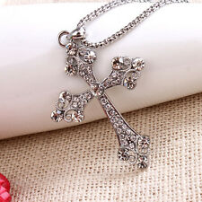 Fashion Unisex Retro Style Crystal Rhinestone Cross Pendant Long Chain Necklace