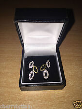 Stunning Diamond Set 9ct Yellow Gold Leaf Stud Earrings New