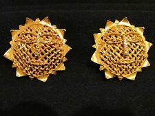 Vntg. Signed Dominique Aurientis Paris Gold Woven Sun Dragonfly Clip on Earrings