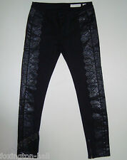 "STUNNING SASS&BIDE BLACK PRINTED SKINNY JEANS 32 ""UP FRONT"" Greaty 180"