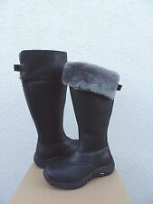 UGG TALL MIKO BLACK WATERPROOF LEATHER SHEEPSKIN BOOTS, US 7/ EUR 38 ~NEW