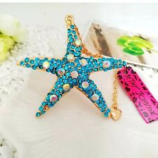 Cute NWT Betsey Johnson Necklace Blue Crystal Gold Starfish Beach �� Summer 431