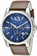 Armani Exchange Men's AX2501 Chronograph Blue Dial Brown Leather Watch