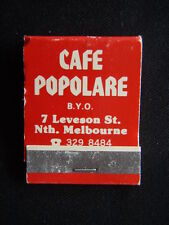 CAFE POPOLARE BYO ITALIAN CUISINE 7 LEVESON ST NTH MELBOURNE 3298484 MATCHBOOK
