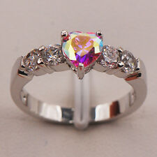 Beautiful Rose Rainbow Topaz Heart Sterling Silver Plated Ring Size R