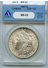 1897 MORGAN DOLLAR VAM 6A ANACS MS 62 NICE EASY TO SEE RUSTED DIES