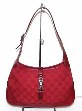 Authentic Vintage GUCCI Jackie O Hobo Shoulder Bag Purse Handbag RED GG Logo
