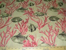 """~10 YARDS~""""CORAL FISH SEALIFE""""~BEAUTIFUL EMBROIDERED UPHOLSTERY FABRIC FOR LESS~"""