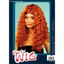 Auburn Ladies Long Frizzy Wig - Wavy Ginger Fancy Dress Costume