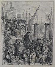 """Doré-Londres; 'Billingsgate-de aterrizaje de los peces"""", antiguo grabado en madera, C.1870"""