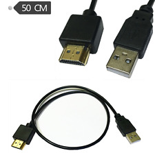 Gold Plated HDMI Male To Connector USB 2.0 Male Charger Power Supply Cable