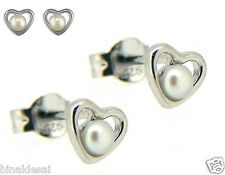925 Sterling Silver Small Fresh Water Pearl Heart Studs Earring X'Mas Gift BOX N