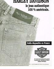 PUBLICITE ADVERTISING 025  1990  LES jeans HARLEY DAVIDSON  MOTOR