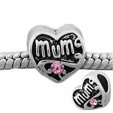 Silver Pink Mum Mother Family Heart Charms Bead For European Charm Bracelets