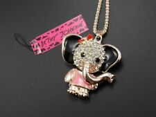 Betsey Johnson Cute fashion inlay rhinestone elephant pendant necklace # F343B