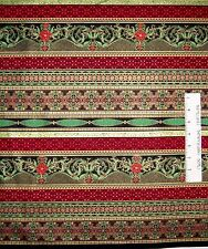 Christmas Fabric - Red Green Poinsettia Damask Stripe - Timeless Treasures YARD