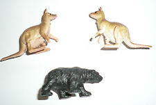 Vintage Plastic Animal Lot Black Bear Kangaroos Joeys are in Pouch Miniatures