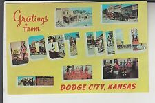 Chrome Boot Hill Large Letters Greetings from Dodge City  KS Kansas