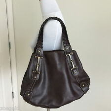 GUCCI PELHAM DARK BROWN LEATHER BRAIDED STRAPS HORSEBIT HOBO SHOULDER BAG $1595