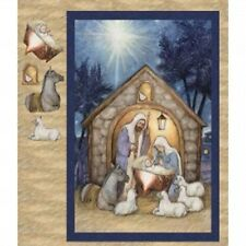 BLESSED BIRTH NATIVITY SCENE CHRISTMAS LARGE FABRIC PANEL