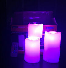 3 Large Wax LED Flickering Remote Control Candle Lights Dancing Flameless Candle