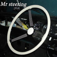 FOR LAND ROVER SERIES 3 1971-1985 WHITE ITALIAN LEATHER STEERING WHEEL COVER NEW