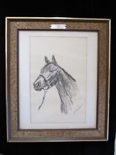 Authentic VINTAGE HORSE PAINTING / DRAWING SULTAN SIGNED fine art ROBINSON