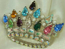 Super Sparkly B David Signed Vintage 50's Rhinestone Crown Brooch 396J6
