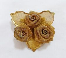 Vintage flower leaves and rose pin brooch gold tone mesh