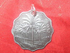 UNIQUE HANDMADE IRAQ IRAQI PALM TREE SILVER TONE COIN CHARM PENDANT NECKLACE