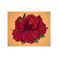 Hawaiian Luau Party Silk Red Triple Hibiscus Flower Ladies Hair Clip