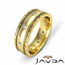 Mens Diamond Solid Ring Eternity Wedding Band Cut Edges 14k Yellow Gold 0.16Ct