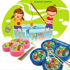 Electric Rotating Magnet Fish Fishing Pretend Game Kids Children Educational Toy