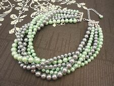 Multi Strand Choker Style Necklace with Pewter(Light Gray) and Mint Green Glass