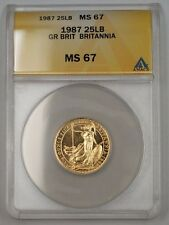 1987 Great Britain One Sovereign Gold Coin Britannia ANACS MS-67