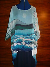 100% silk georgette floaty kaftan/tunic  Hiroshige's Sea off Satta  L/XL  NEW