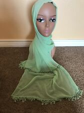 New Stunning Beaded Green With Beads  Floral Scarf Shawl Wrap Hijab